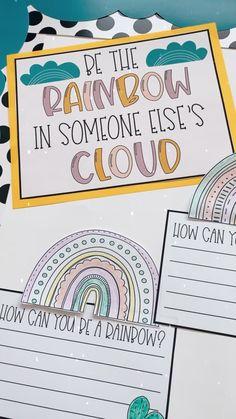 Rainbow Bulletin Boards, Kindergarten Bulletin Boards, Classroom Bulletin Boards, Classroom Themes, Kindness Activities, Kindergarten Activities, Writing Activities, Writing Prompts For Kids, Writing Assignments