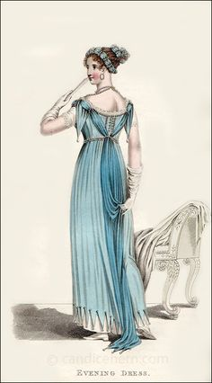 """""""Evening Dress"""" (October 1811) - """"I think this is such a pretty print. I love the angle of the figure, giving us a good view of the back of the dress. Notice that she is wearing hoop earrings. Though they may seem very modern to us, they were clearly popular during the Regency, as they show up in fashion prints frequently."""""""