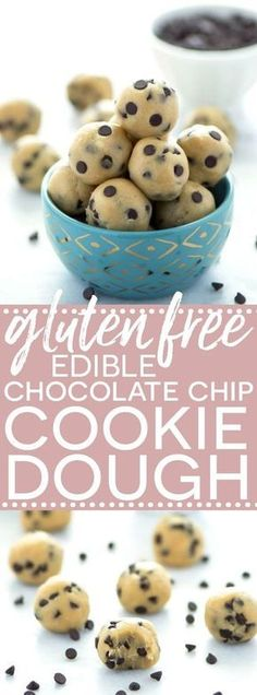 This gluten free and egg free edible chocolate chip cookie dough is easy to make and comes together quickly. Now you can safely eat that batter!  A fun afternoon snack for the kids to make- no oven required! #glutenfreecookiedough #ediblecookiedough #chocolatechipcookiebatterrecipe