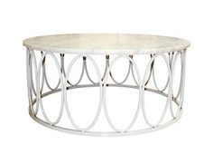 This round cocktail table features a unique frame of linked ovals and inset honed white Carrera marble top has an elegant and luxe look.