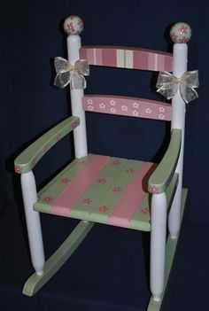 Childrens Custom Hand Painted Floral Patchwork Kids Rocking Chair