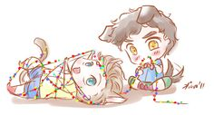 pencilpushingenthusiast:  daxterdd:   kiwakostalova:   katherine1753 -puppy!Blaine and kitty!Kurt playing with Christmas lights :D    Oh Bla...