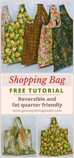 Quick and easy shopping bag tutorial - reversible and fat quarter friendly. via @getagrama