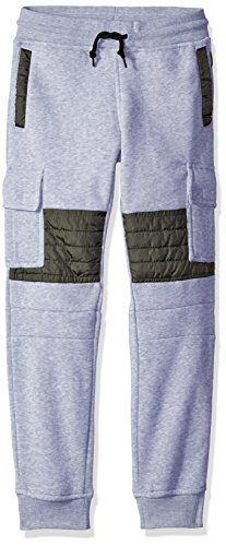 Southpole Boys Big Boys Jogger Fleece Cargo Pants with Quilted Nylon Utility Details on Knees Heather Grey Medium -- Check out this great product.Note:It is affiliate link to Amazon.