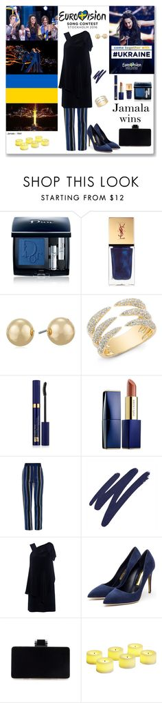 """Evrovision 2016 Jamala wins"" by ludmyla-stoyan ❤ liked on Polyvore featuring Christian Dior, Yves Saint Laurent, Napier, Estée Lauder, Proenza Schouler, By Terry, Karen Walker, Rupert Sanderson, Pier 1 Imports and dress"