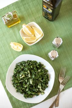 Greek Vegetarian: Horta (Steamed Greens with Fresh Lemon Juice and Olive Oil)