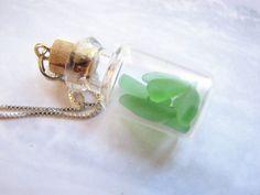 Miniature Glass Bottle Jewelry Emerald Green by BitsOffTheBeach