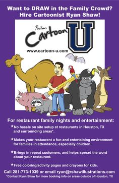 To restaurants in the Houston area: Do you want to bring a little more business into your restaurant on family nights and kids eat free nights? Contact me to day for more info!