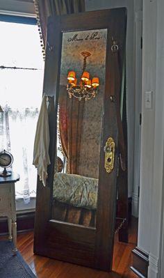 Full Length Standing Mirror – Vintage Door Standing Mirror with Hooks - Diy mirror Mirror With Hooks, Diy Mirror, Mirror Door, Mirror House, Sunburst Mirror, Mirror Bathroom, Wall Mirrors, Vintage Home Decor, Diy Home Decor