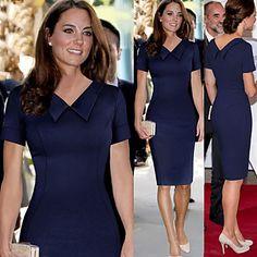 Sheath/Column V-neck Knee-length Polyester Semi-Formal Dress – USD $ 19.00