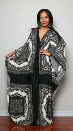 Black and White Maxi Dress Boho Print Kimono by Nuichan on Etsy, $59.00