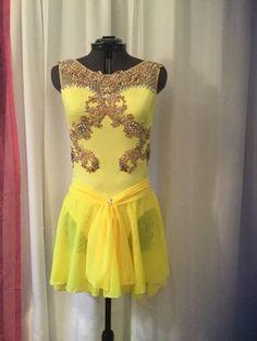 Belle Inspired Custom Figure Skating Dress-Stunning Yellow Lace Appliqued Custom Figure Skating Dress by spiralsdesignscom on Etsy