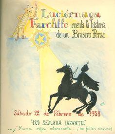 """Cartell il·lustrat per la bibliotecària Natàlia Hernàndez, per informar de l'hora del conte destinada al dia 22 de febrer de 1958 en la biblioteca Pare Miquel d'Esplugues. El títol de la narració fou: """"Historia de un brasero persa""""."""