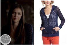 Shop Your Tv: The Vampire Diaries: Season 4 Episode 8 Elena's Blue Jacquard Burnout Cardigan