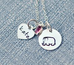 Elephant Personalized Necklace Hand Stamped by 3LittlePixiesShoppe, $38.00