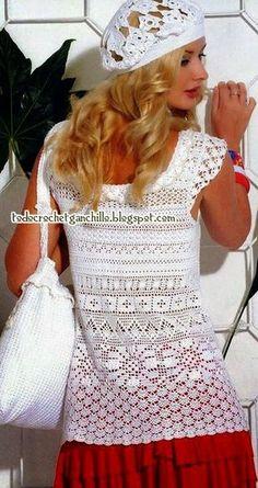 patrones para tejer conjunto de dama de blusa y boina
