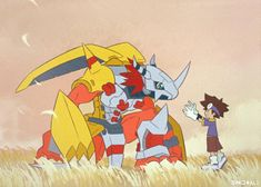 Tai with WarGraymon Digimon Adventure Tri, Digimon Wallpaper, Digimon Tamers, Digimon Digital Monsters, Fanart, Art Pages, Manga Anime, Video Game Art, Pikachu