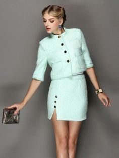 Light Green Woolen Two-piece Suit With Half Sleeve | Choies