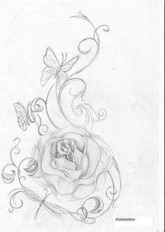 big rose and butterflies