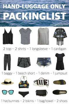 How to travel with hand luggage only. THE ULTIMATE PACKINGLIST FOR SUMMER HOLIDAYS! The ultimate packing list for a 1 week summer vacation with only 1 carry on luggage piece. Showing everything you need to pack for your upcoming vacation. Holiday Packing Lists, Packing List For Travel, Travel Tips, Luggage Packing, Travel Luggage, Travel Hacks, Packing Ideas, Beach Travel, Beach Vacation Packing