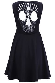 Skull Cut-out Black Dress