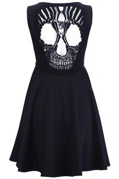 Romwe - Skull Cut-Out Black Dress