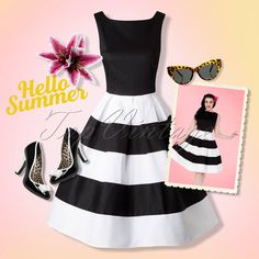 Hello Summer! We all love a good stripe and this 50s Anna Dress! Black and white is always a good idea!