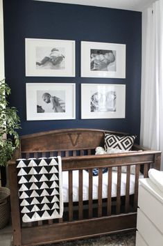 baby bedroom Beautiful ideas for a small modern nursery! This tiny baby room is off to the side of the master bedroom. Love the simple decor, from the navy wall to the brown crib and the beautiful gallery wall! Baby Room Design, Nursery Design, Baby Boy Nurseries, Baby Cribs, Rustic Baby Nurseries, Modern Nurseries, Baby Room Boy, Small Baby Nursery, Small Baby Rooms