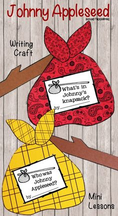 John Chapman's birthday is Sept. 26. Here's a fun writing activity for kids with minilessons and printables about Johnny Appleseed! the knapsack is a booklet that hangs on a stick!