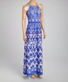 London Times Blue Flourish Maxi Dress by London Times #zulily #zulilyfinds