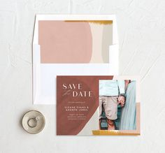 Abstract Watercolor save the date photo card with diy envelope liner in gold Modern Save The Dates, Save The Date Photos, Save The Date Cards, Diy Envelope Liners, Abstract Watercolor, Card Sizes, Photo Cards, Engagement Photos, Dating
