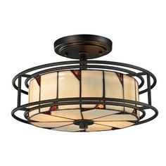 Woodbury Dark Bronze Three Light 8.5-Inch Flush Mount