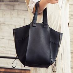 Leisure Women's Tote Bag With Magnetic Closure and Zippers Design (BLACK) | Sammydress.com Mobile