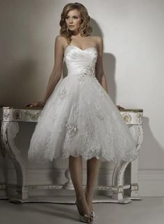 Short Lace Wedding Dress with Corset Back