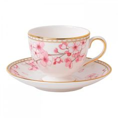 Wedgwood Spring Blossom Leigh Teacup & Saucer found on Polyvore featuring home, kitchen & dining, drinkware, wedgwood and wedgwood saucer