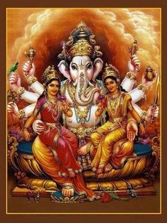 Ganapati With Riddhi Siddhi