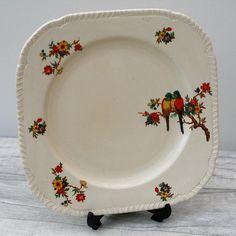Art Deco Staffordhire Parrots & Floral No: 771239 Cake Plate Serving Plates, Cake Plates, Parrots, Vintage Tea, Pie Dish, Art Deco, Tableware, Floral, Kitchen