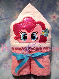 Pink pony with bow Peeker Applique embroidery design (5X7 Hoop)