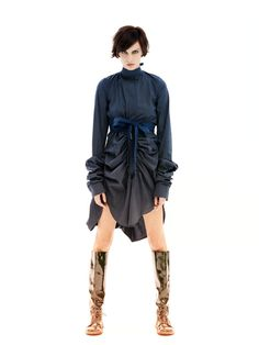 Stylish party shirtdress with extra long crazy by MariaQueenMaria, $119.00