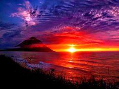 Paisagem colorida ao por do sol