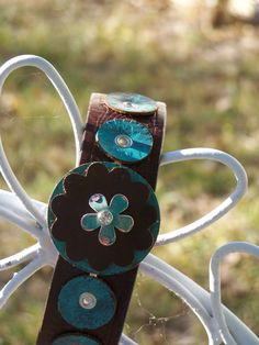 Brown and Turquoise  Flower Leather  by TheQueensDaughters on Etsy, $29.00