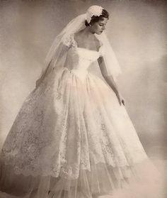 Lace wedding dress, 1950