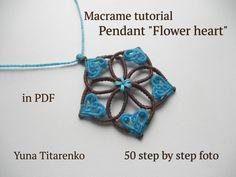 """Macrame tutorial. Pendant """"Flower heart"""""""