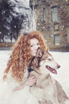 Huskia II  Snowhite snow queen dog husky ginger hair beauty fashion make up portrait disney tale red crown winter   Karolina Kotkiewicz Photography   www.kkotkiewicz.co.uk