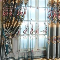 Decorative Polyester Sheer Pastoral Style Embroidered Peach Blossoms Blue Sheer Curtain - beddinginn.com