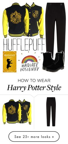 """""""Hufflepuff"""" by caqcake on Polyvore featuring Ted Baker, Dr. Martens and harrypotter"""