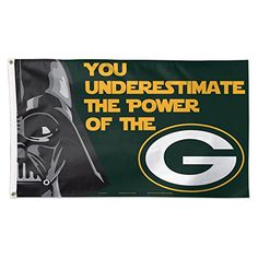 Green Bay Packers Official NFL 3 x 5 Star Wars Darth Vader Banner Flag by Wincraft 404442 @ niftywarehouse.com #NiftyWarehouse #Geek #Products #StarWars #Movies #Film