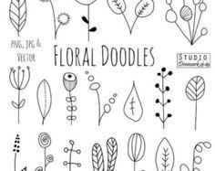 Doodle Blumen Clipart und Vektoren - handgezeichnete Blume und Blatt Kritzeleien / skizzieren - Natur / Laub / botanische Zeichnungen - kommerzielle Nutzung