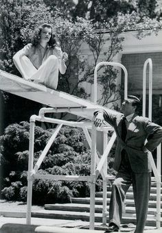 Katherine Hepburn & Cary Grant in The Philadelphia Story--decaying hollywood mansion's