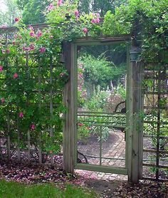 Old screen door in garden fenced in area.